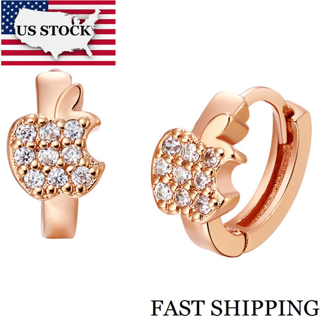 US STOCK Uloveido Stud Earrings for Women Rose Gold Color Fruit Earings Cubic Zirconia Earring Oorbellen Joyas 15% Off R523