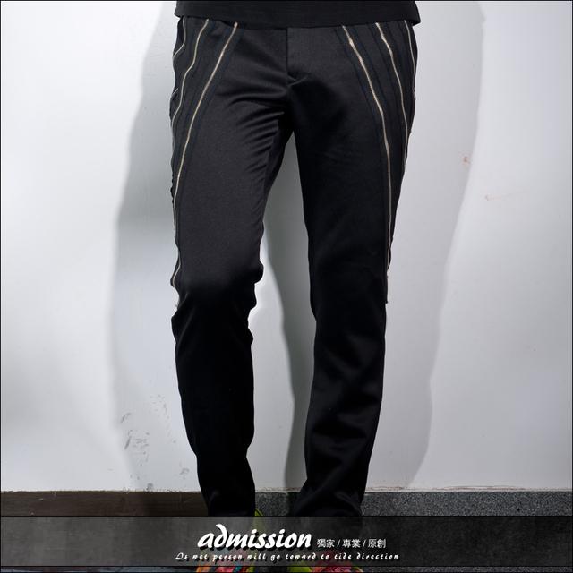 Dj hombre hombre personalidad pantalones cremallera pantalones pantalones harén pantalones del traje
