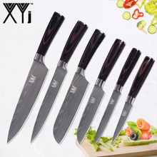 hot deal buy xyj damascus pattern stainless steel knife set chef slicing santoku utility fruit kitchen knives accessories tools bend handle