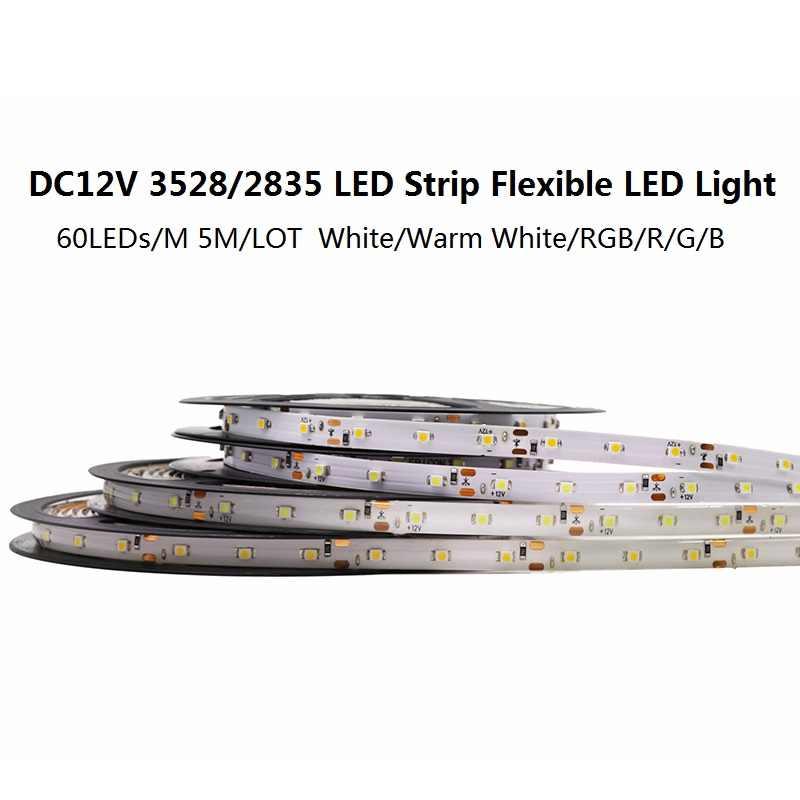 IP65 imperméable à l'eau 300 LED s/5 M SMD 3528 2835 RGB bande de LED bande de Diode Flexible 12 V ruban LED 60 LED/M bande de LED pour la décoration de la maison