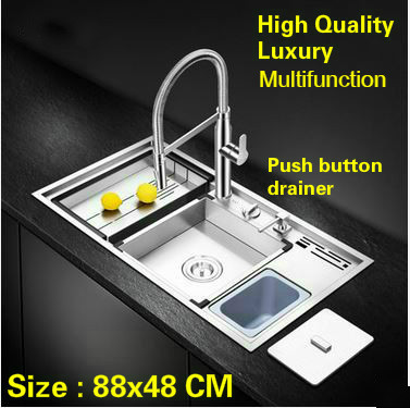 Tangwu luxury advanced kitchen sink food grade 304 stainless steel manual large single slot durable 88x48x21 CM free shipping standard mini kitchen manual sink single trough black durable food grade stainless steel hot sell 550x450 mm