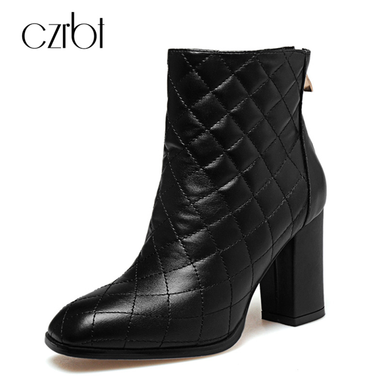 CZRBT Luxury Brand Style Top Quality Genuine Cow Leather Gingham Women Boots Ladies Fashion Back Zipper High Heels 8.5cm Boots czrbt geniune cow patent leather front zipper women high heels 8cm boots ladies brand style mid calf shoes women 100