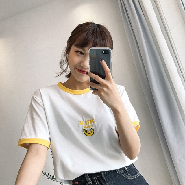 2017 WomenS Punk Harajuku Ulzzang Cartoon Embroidery Japanese Vintage T Shirt Female Korean Kawaii Cute