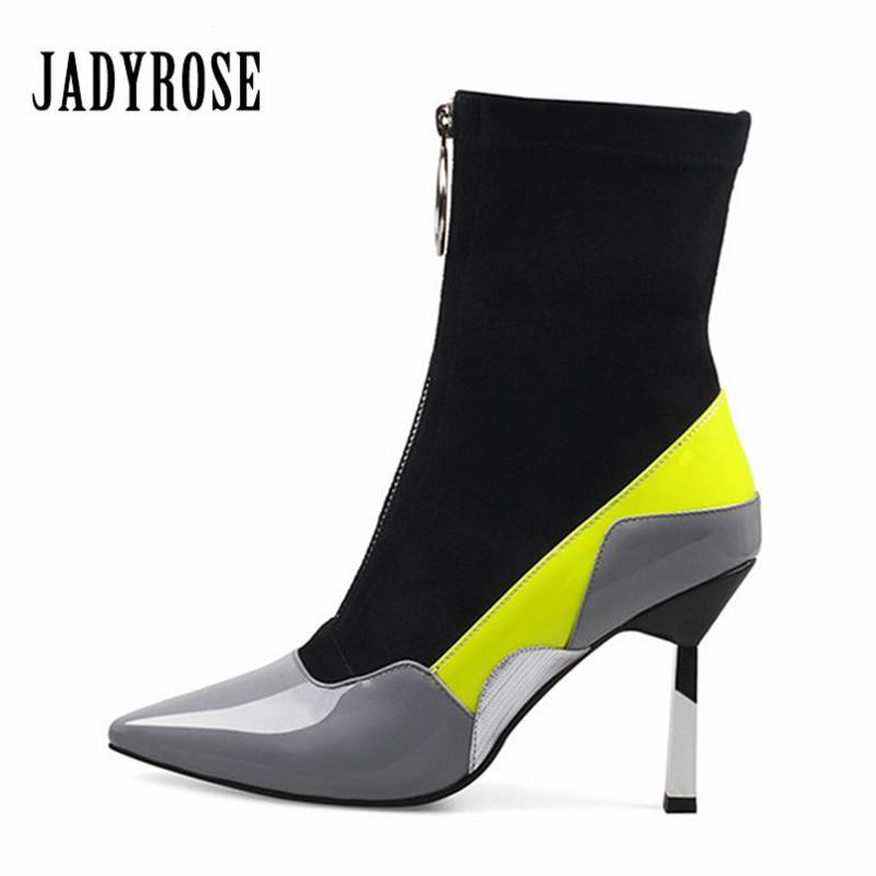 где купить Jady Rose Elastic Women Ankle Boots Pointed Toe Front Zipper Rubber Boot High Heel Autumn Stretch Fabric Shoes Woman Botas Mujer по лучшей цене
