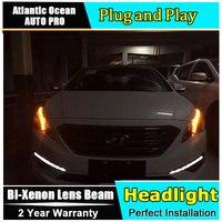 Auto Pro Car Styling For Hyundai New Sonata Headlights 2015 LED Headlight DRL Lens Double Beam