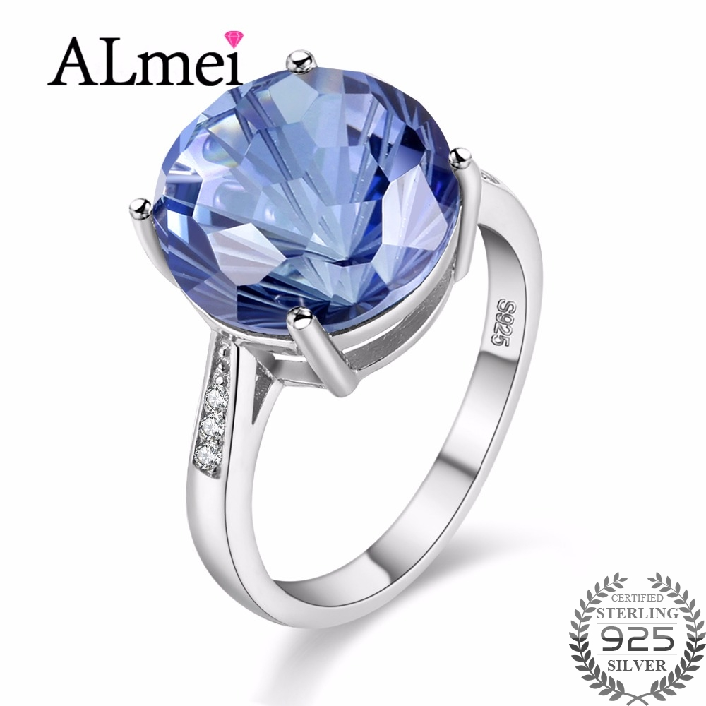 Almei Tested 7 CARAT Tanzanite Topaz 925 Sterling Silver Diamond Hola Jewelry Blue Gemstone Wedding Ring Women with Box 40%FJ011