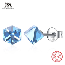 LEKANI Crystals From Swarovski Drop Earring 925 Fashion Square Seven-Color Earrings Candy-Colored Gift Ms. Christmas 2018