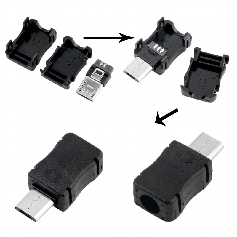 High Quality 10PCS Micro USB Male Connector Male Micro USB Jack 2.0 5PIN Plug Socket With Plastic Cover For Kinds Of DIY