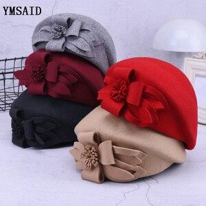 Image 1 - 2019 חדש צמר כומתת חורף כומתות נשים אופנה הרגיש פרחוני נשי צרפתית אלגנטי כפת מגבעת כובע כפה Autumu פרח