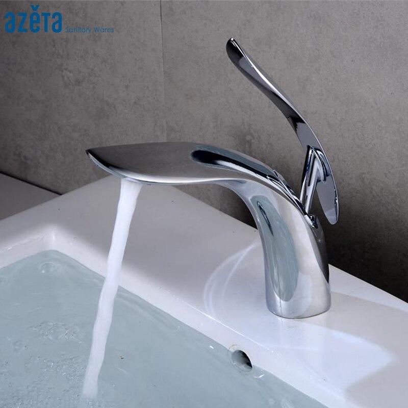 Torneiras de Latão Mixer do Banheiro Azeta Contemporânea Banheiro Bacia Cromado Sink Toque Deck Montado At6606
