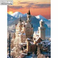 Full Square/Round Drill 5D DIY Diamond Painting Snow mountain castle 3D Embroidery Cross Stitch Mosaic Rhinestone Decor HYY