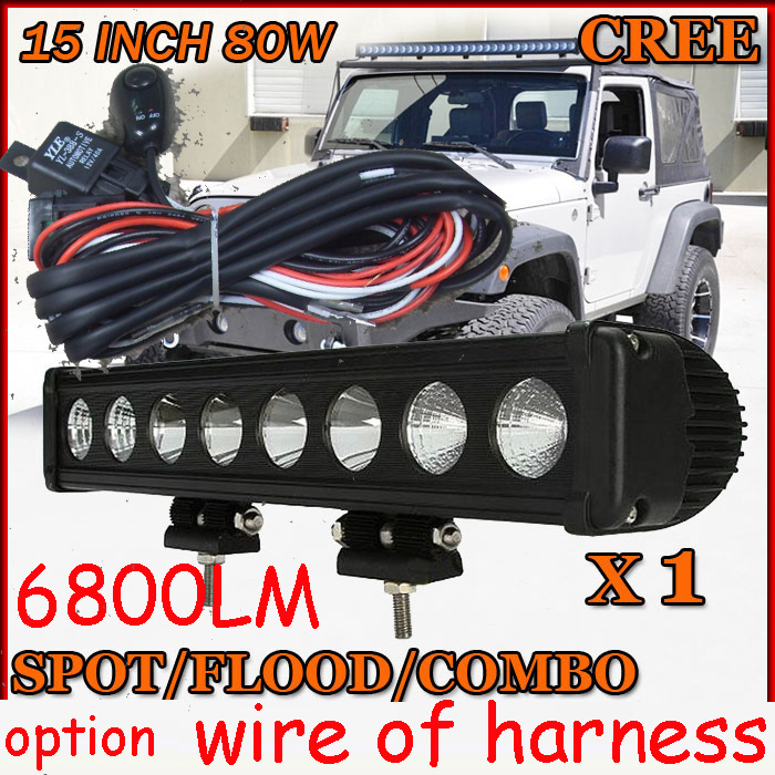 Free DHL/UPS/FEDEX ship!  15 80W,6800LM,10~30V,6500K,LED working bar;led offroad bar,Option wire harness,SUV,LED bar light dhl eub 2pcs nok pptf gl8 10 tp 15 18