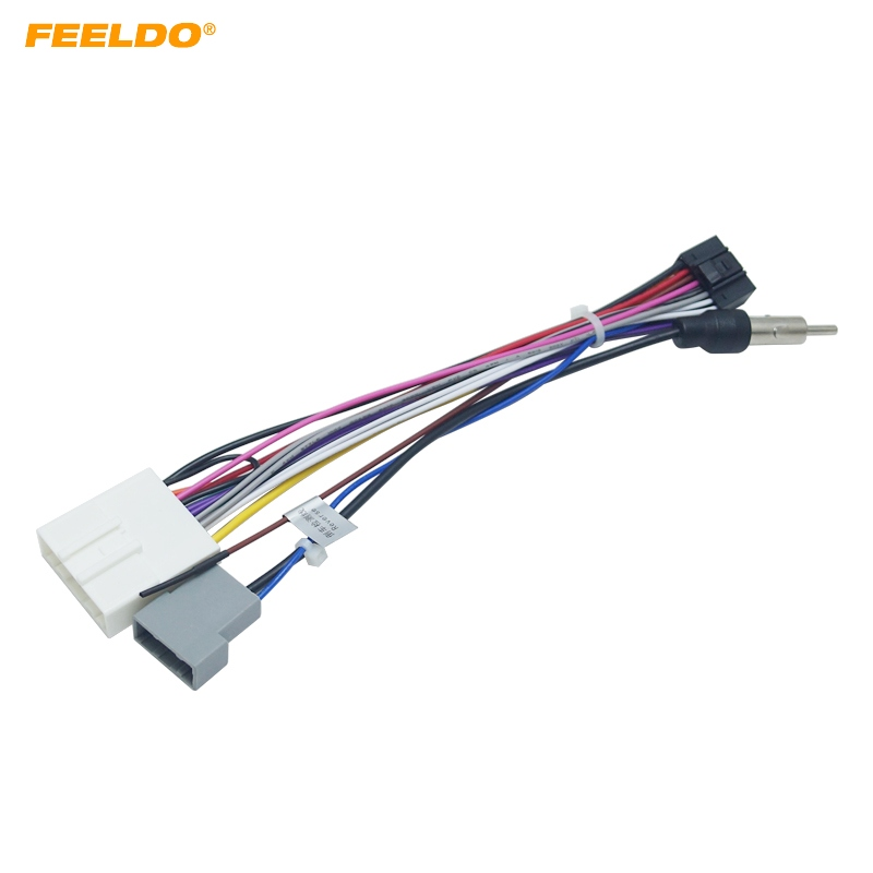 feeldo 1pc 16p car head unit wire harness adapter for. Black Bedroom Furniture Sets. Home Design Ideas
