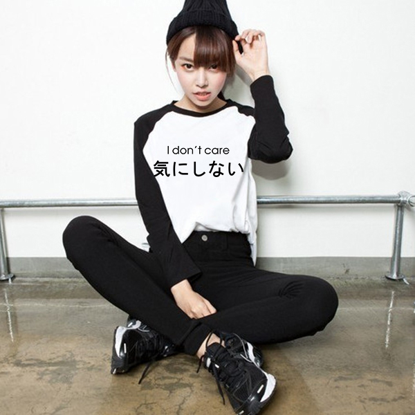 77b711e6 Loose Style Harajuku Japanese Korean Ulzzang Women PVC Letter Print T shirt  Female Raglan Long Sleeve Printed Tshirt T Shirts-in T-Shirts from Women's  ...