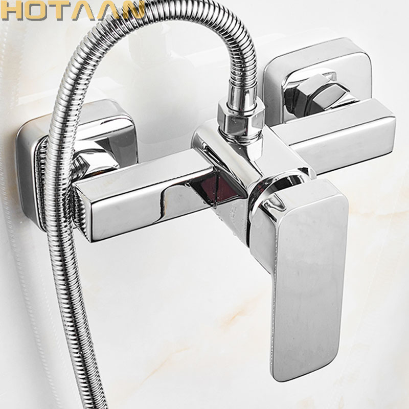Free Shipping Polished Chrome Finish New Wall Mounted Shower Faucet Bathroom Bathtub Handheld Shower Tap Mixer Faucet  YT-5336