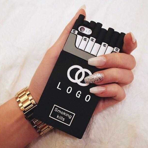 Luxury Channel Smoking Kills Cigarette Case for iPhone 4 4s 5 5s 5c 6 6 Plus Samsung Galxy S5 S6 Note3 Note 4 Silicone Cover