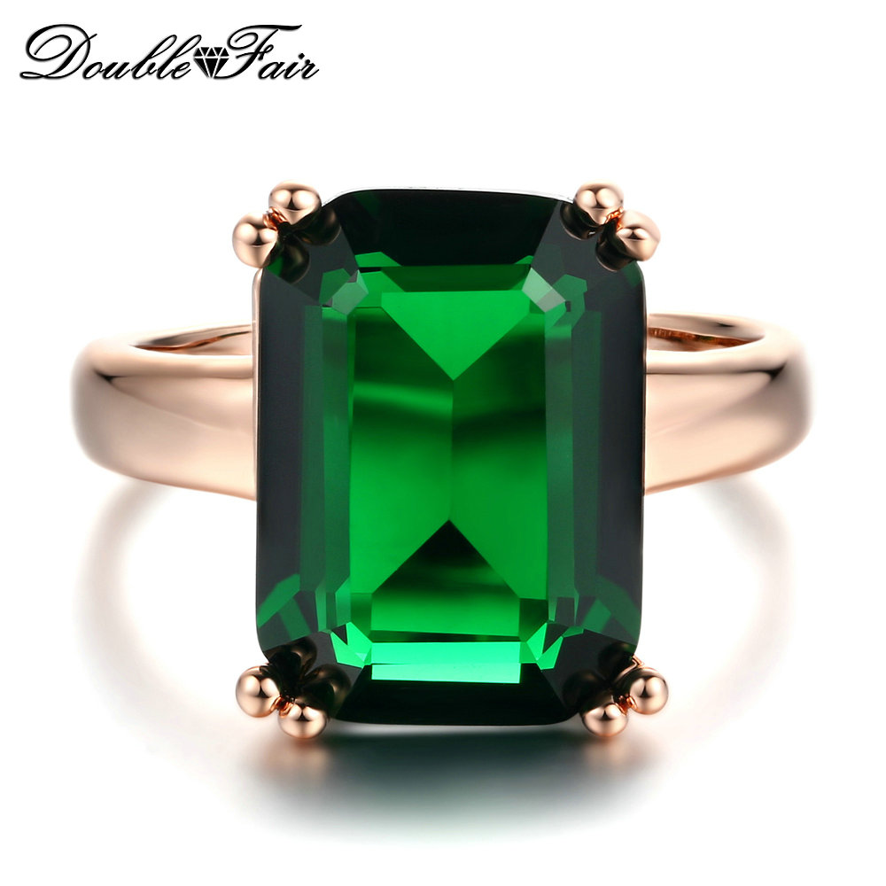 Double Fair Octagon Cut Green Crystal Ring Rose Gold Color Fashion