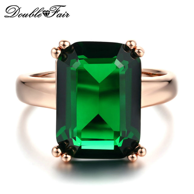 Double Fair Octagon Cut Green Crystal Ring Rose Gold Color Fashion Big Red Rhine