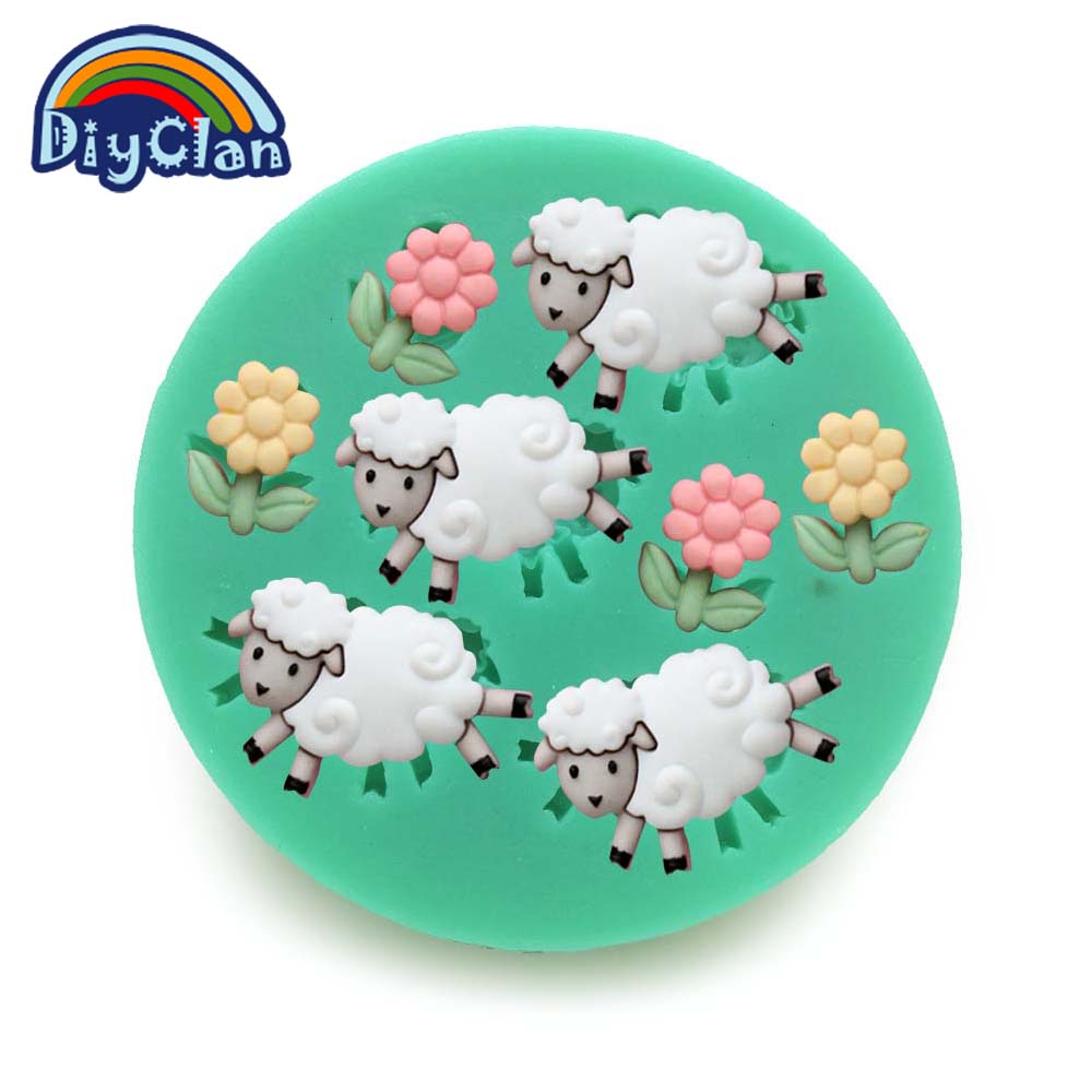 Mini 3 flowers 4 sheeps silicone Chocolate and fondant mold for cake decorating baking animal Decro polymer clay tools F0062XY35