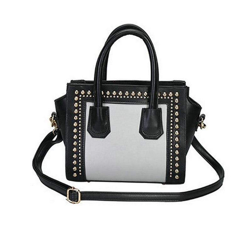 ФОТО 2017 new fashion women's classic black and white color rivet smiley bag wing tote cross body shoulder bag commute handbag