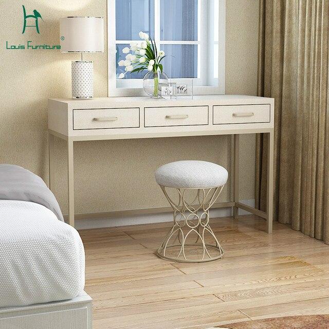 US $420.0 |Louis FashionSimple European Style Bedroom Dresser Modern  Minimalist Iron Metal Desk Black American Nordic Makeup Table Table-in  Dressers ...