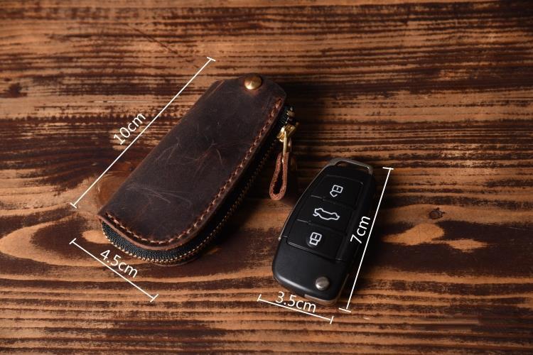 Image 3 - Vintage Genuine Leather Car key holder Men Leather Key wallet Keychain men housekeeper women Car key case Bag key organizerwallet keychainleather car key holderkey wallet -