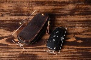 Image 3 - Vintage Genuine Leather Car key holder Men Leather Key wallet Keychain men housekeeper women Car key case Bag key organizer