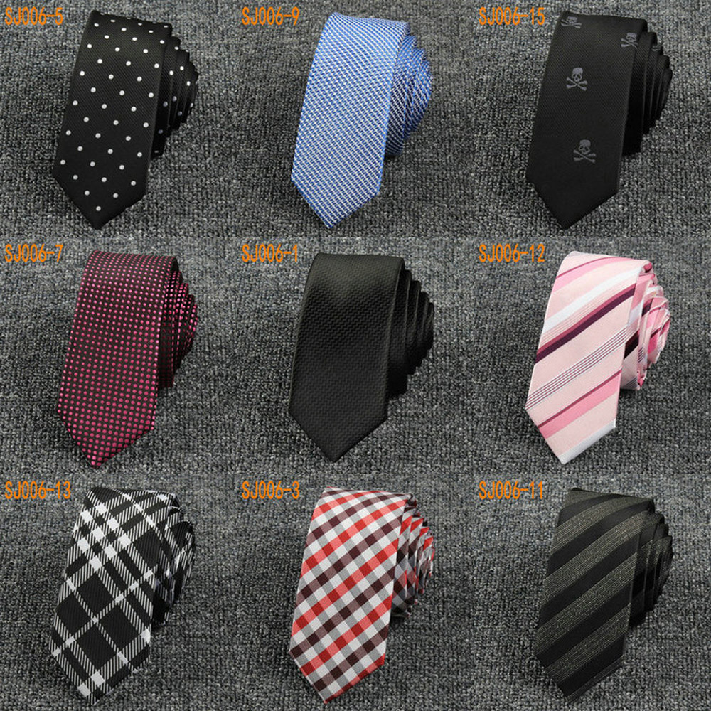 Men Casual font b Tartan b font Plaid Stripe Skinny Necktie Polka Dot Skull Thin Tie