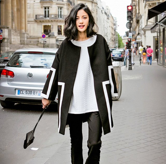 2016 Women Loose Trench Coat Women Fashion Long Sleeve Autumn Retro Black and White Hit Color Trench Coat