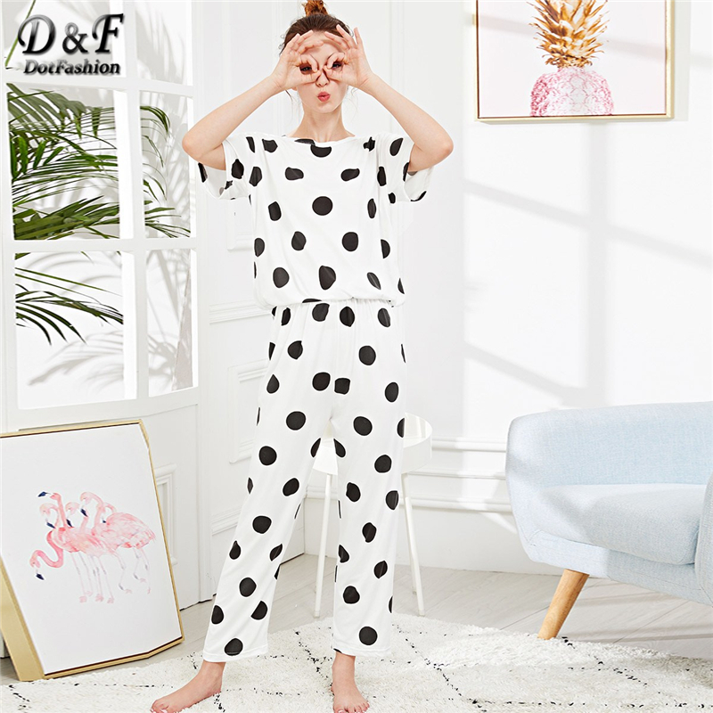 Dotfashion Polka Dot   Pajama     Sets   Black And White Cute   Pajamas   For Women 2019 Summer Casual Nightwear Short Sleeve Loungewear