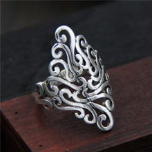 Anenjery Vintage Mode 925 Sterling Zilver Dominant Paleis Opening Ringen Voor Mannen Vrouwen Hollow Gesneden Patroon Ring S-R265(China)