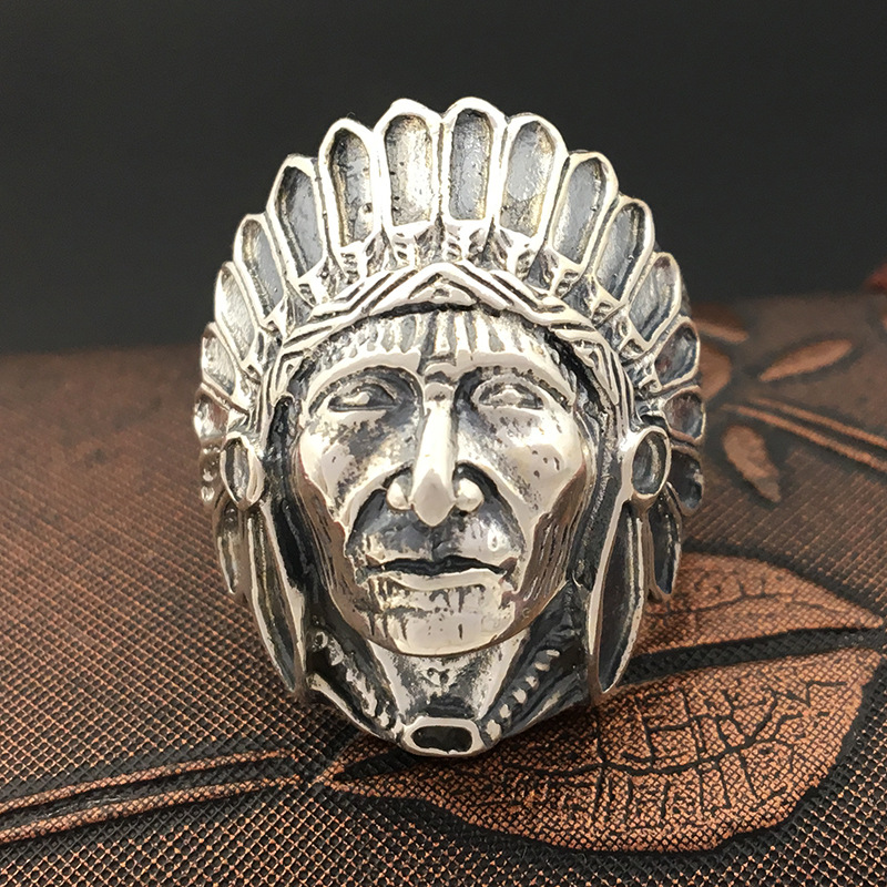 S925 pure silver ornaments Manual Thai silver ring Indian chief ring male money personality s925 pure silver personality female models new beeswax