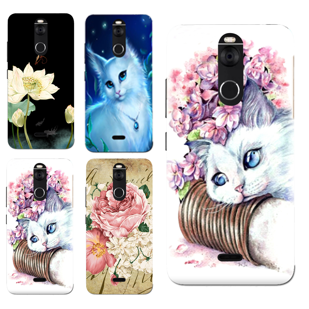 For Fly FS 520 Floral Sleepy Darling Baby Cat Animal Cases For FS520 Selfie 1 Back Cover Bag TPU Pattern Cases Bag Housing