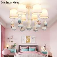 Мультфильм творческий розовый кролик люстра девушка Спальня принцесса номер Детская комната пастырской светодиодный Цветной люстры в вид