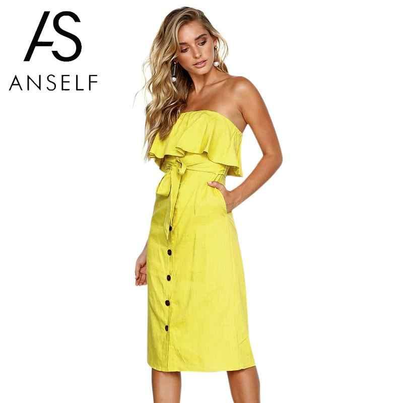 f5e6900e97 Anself Women Off the Shoulder Dress Sleeveless Backless Summer Dress 2019  Elegant Ruffles Buttons Front High