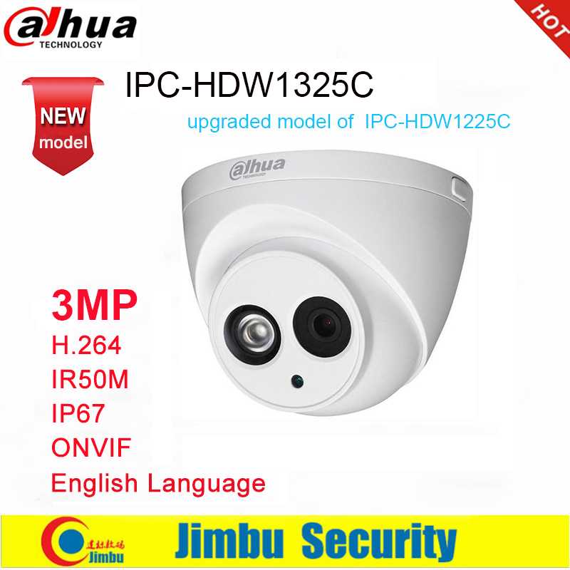 Dahua IP Camera 3MP IPC HDW1325C H 264 IP67 IR50M ONVIF Surveillance Network Dome Camera 3DNR