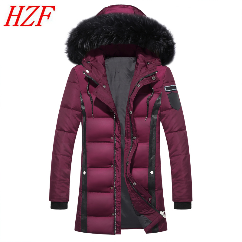 Thick Down Jacket Men 2017 Winter With Hood Detached Warm Waterproof Big Raccoon Fur Collar For -40 degrees Coat Outwear 2017 men down jacket winter warm collar fur trim hood coat outwear puffer down cotton long jacket clothes thick canada cheap