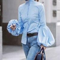 Kadın Fener Kollu Bluz Ofis Lady Moda Uzun Kollu Tops Kadın Gevşek Standı Yaka Puf Mavi Gömlek WS4688V