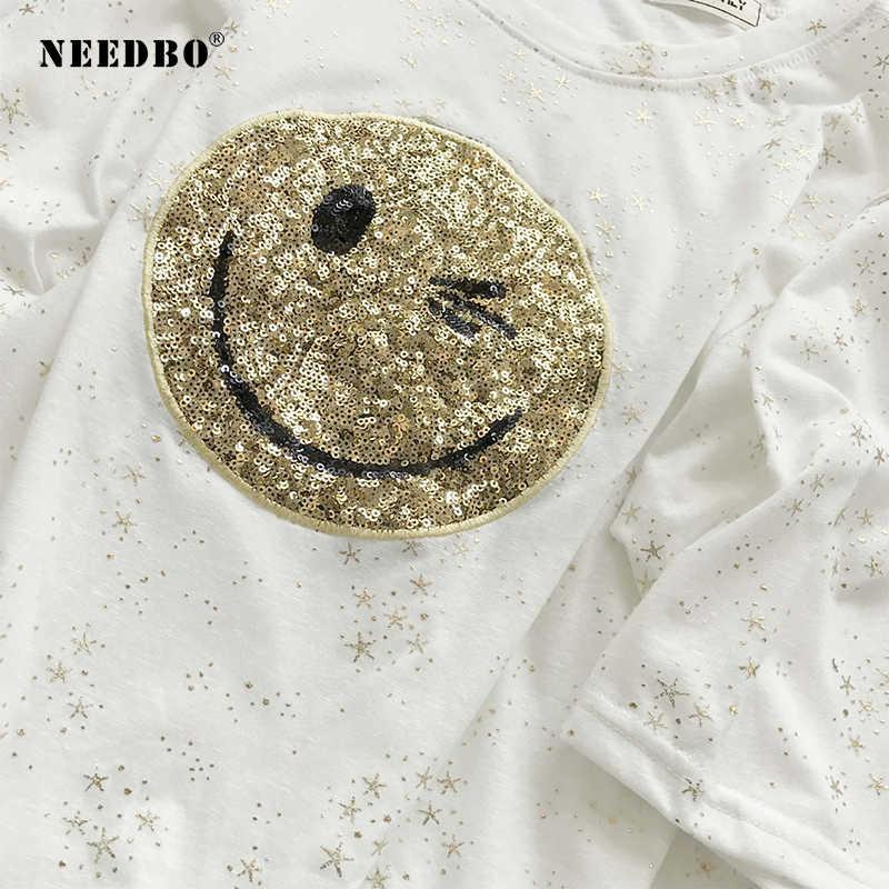 NEEDBO Sexy t-shirt Women Printed Smile Face Casual O-Neck Sequin Tshirt Women Summer Polyester Tshirt Femme Big Size Tshirt