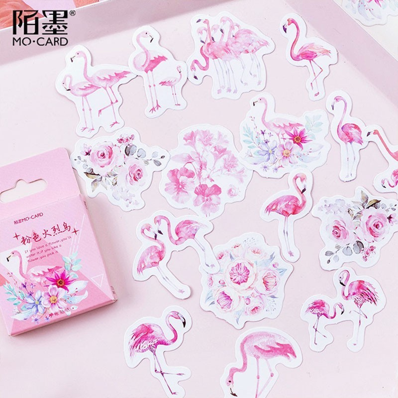 45pcs/box Cute Flamingo/Cat/otter Stationery Stickers Kawaii Decorative Stickers Scrapbookingg Diary Bullet Journal Sticker