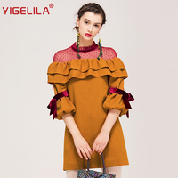 YIGELILA Brand 62336 Women Lantern Sleeve Dress Fashion Cute O Neck Ruffle Patchwork Mesh Mini Dress