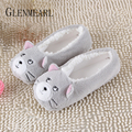 2018 New Warm Flats Soft Sole Women Indoor Floor Slippers/Shoes Animal Shape White Gray Cows Pink Flannel Home Slippers 6 Color