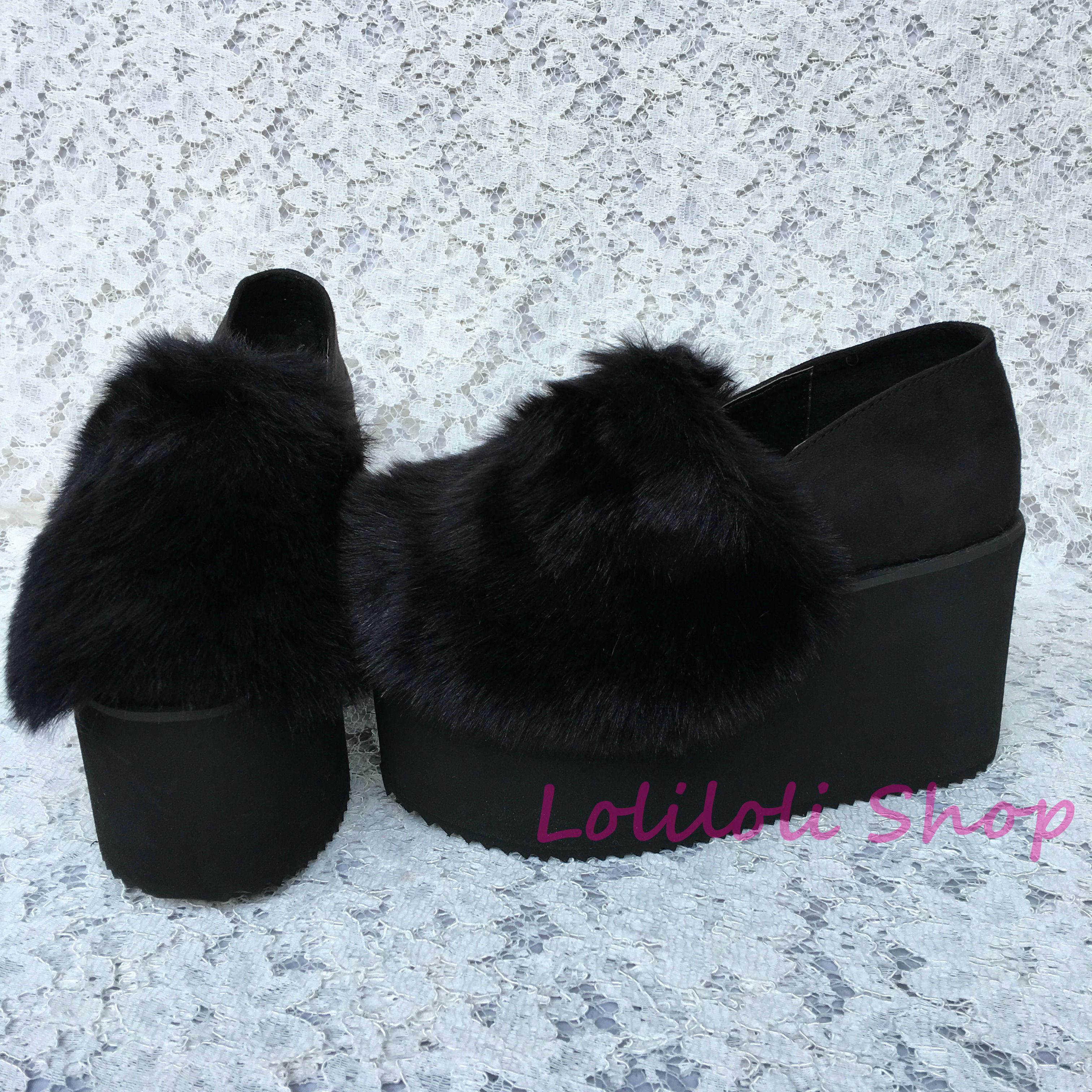Chaussures lolita princesse douce Lolilloliyoyo antaina design japonais fond épais noir troupeau imitation fourrure de lapin chaussures plates 5125n