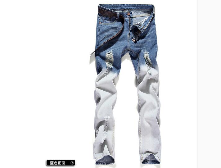 Brand Mens Jeans Straight Ripped Jeans For Men 2017 Zipper Fly Denim Jeans Men Fashion Designer Pants Blue Jeans Homme famous brand mens jeans straight ripped biker jeans for men zipper denim overalls men fashion designer pants blue jeans homme