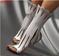 독특한 디자인 컷 아웃 패치 워크 신발 여성 14 센치메터 슈퍼 얇은 높은 뒤꿈치
