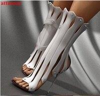 Diseño único recortes patchwork zapatos de mujer 14 cm súper delgada de tacón alto sandalias de moda de varios colores opcionales Saint Seiya zapatos