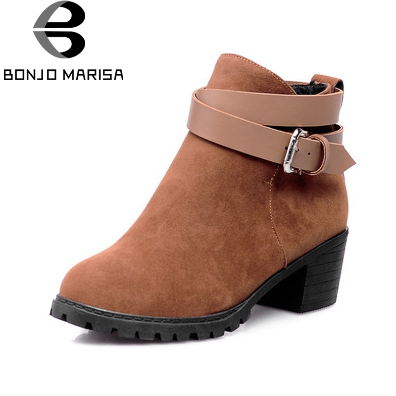 BONJOMARISA Big Size Women Winter Boots Shoes Nubuck Square Heels Buckle Strap Ankle Boots Women Gladiator