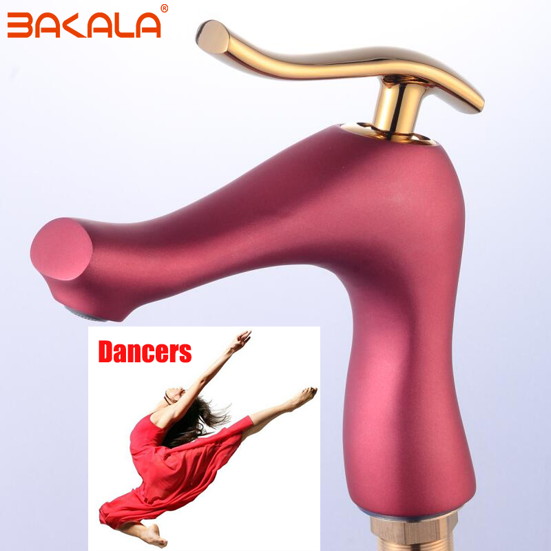 BAKALA Luxury Basin Faucet Water Tap Bathroom Faucet Solid Red Brass Chrome Gold Finish Single Handle Water Sink Tap Mixer basin faucet water tap bathroom faucet solid black red brass chrome gold finish single handle sink cold and hot water mixer tap