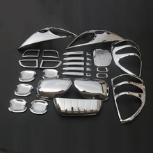 For Toyota Land Cruiser Prado J120 2003-2009 ABS Chrome Package Rear License Head Tail Light Foglight Handle Mirror Covers 29Pcs
