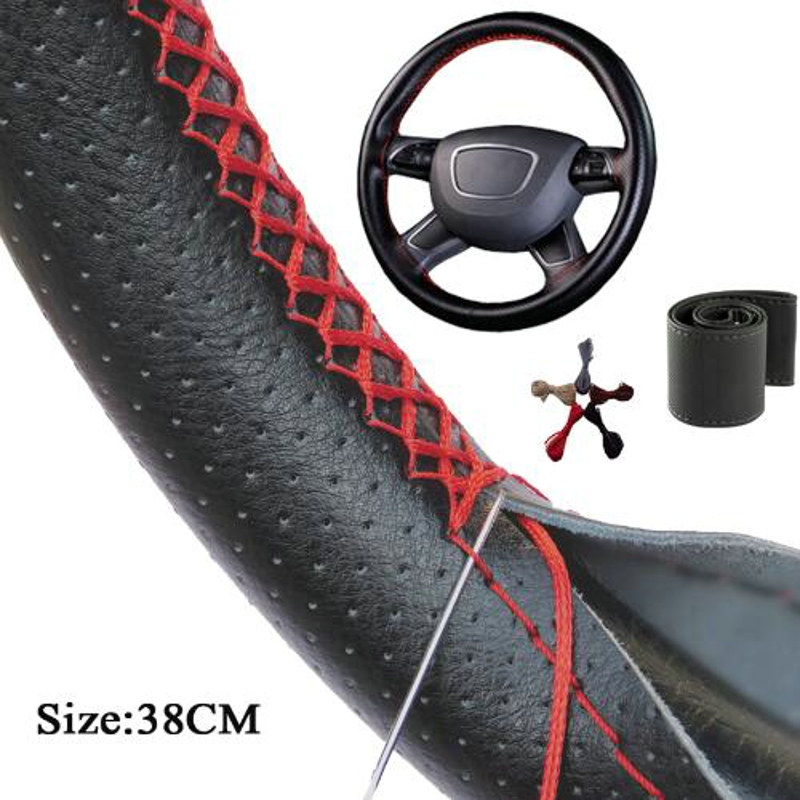 Universal Car Steering Wheel Cover With Needles and Thread Artificial leather Auto Steering Wheel centers cover 38cm for all car цена